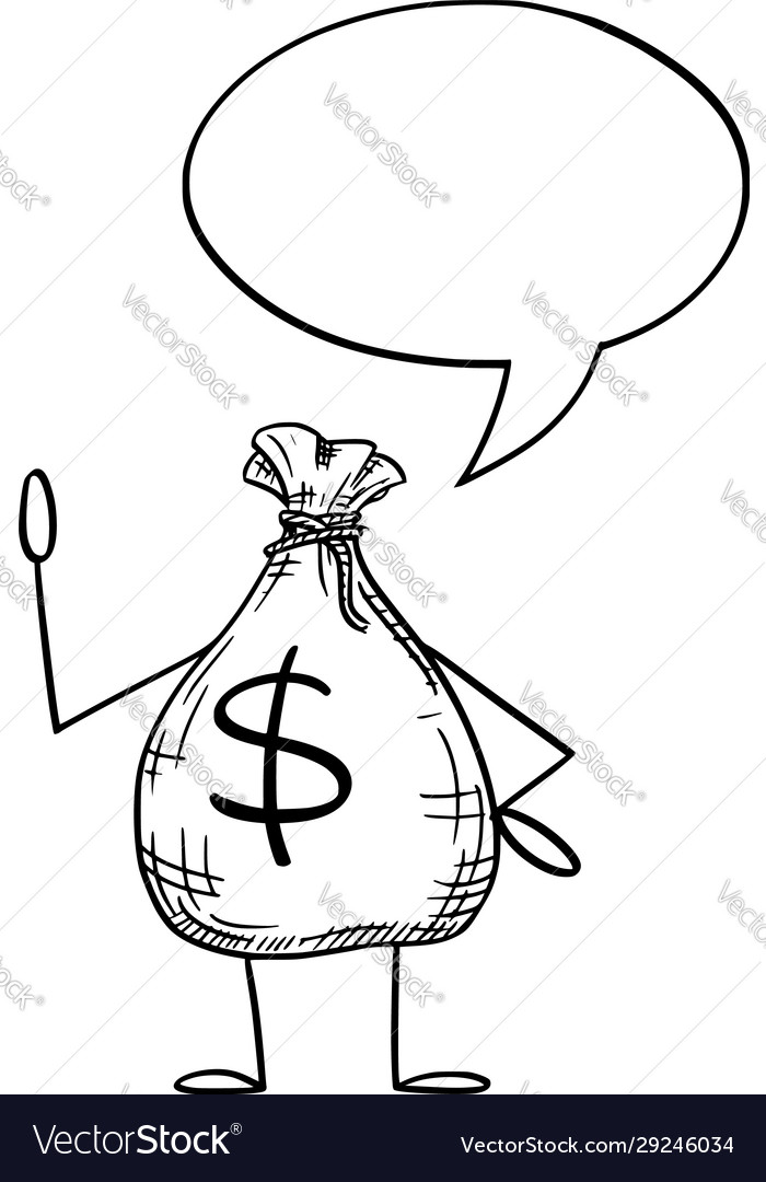 Bag money or dollars cartoon character