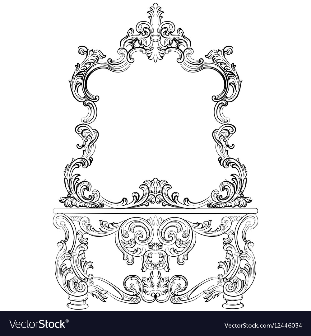 Baroque furniture Dressing Table and mirror frame vector image