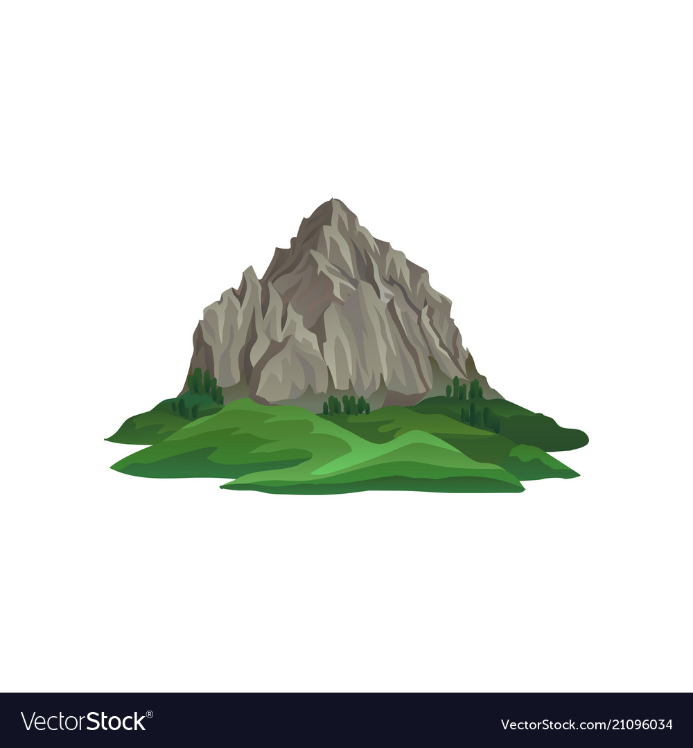 Big rocky mountain surrounded with green plants