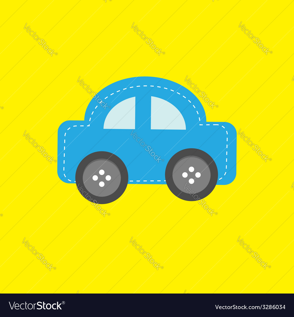 Blue car applique with dash line thred and wheel