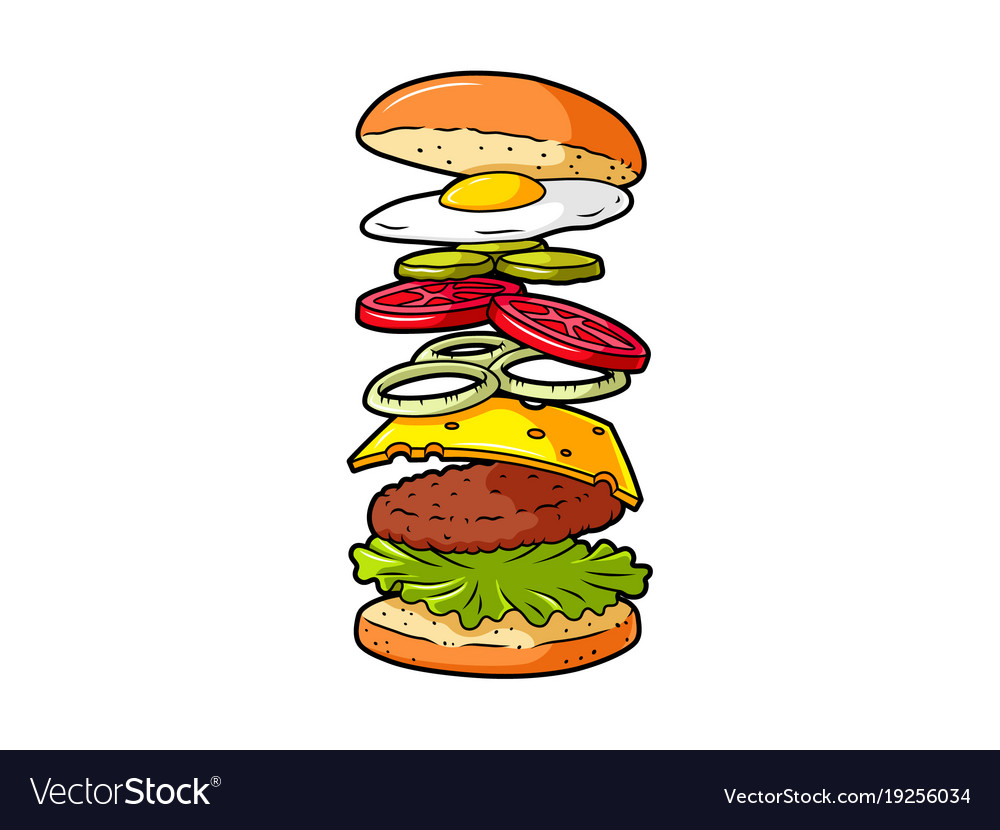 Cartoon cheeseburger ingredients vector image