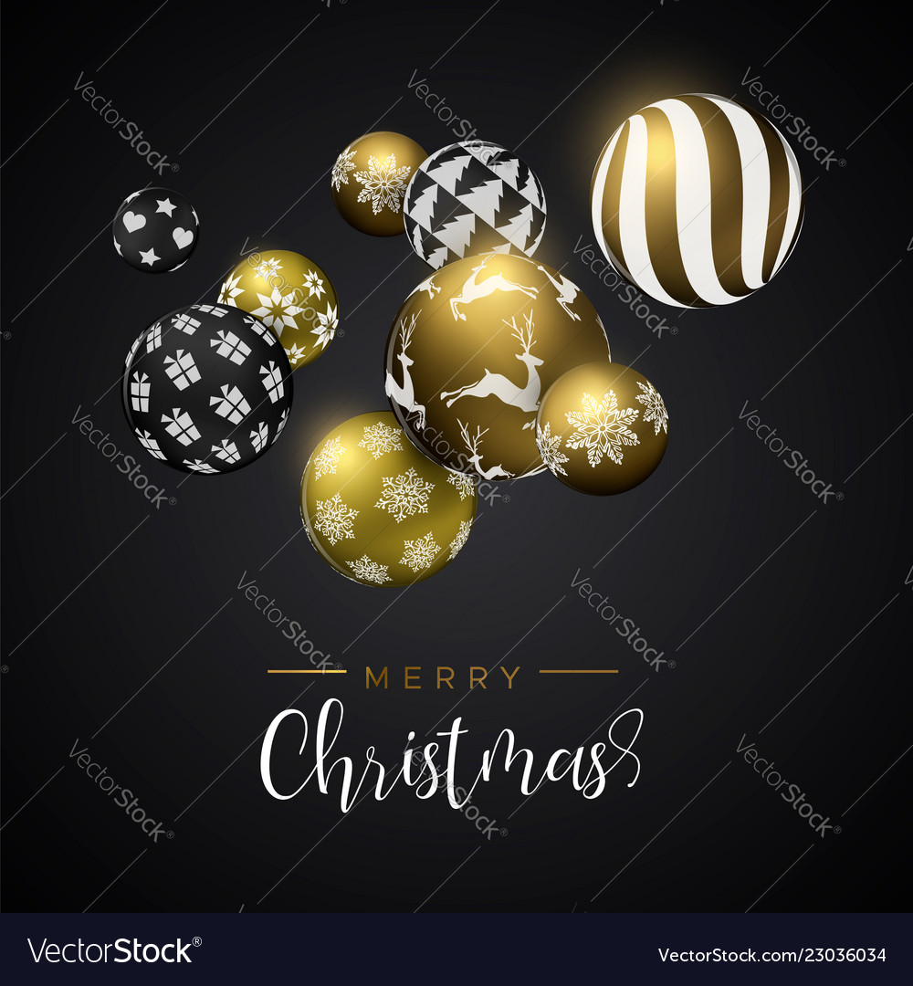 Christmas gold bauble ornament greeting card