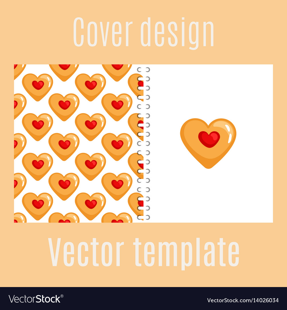 Cover design with cookies hearts pattern