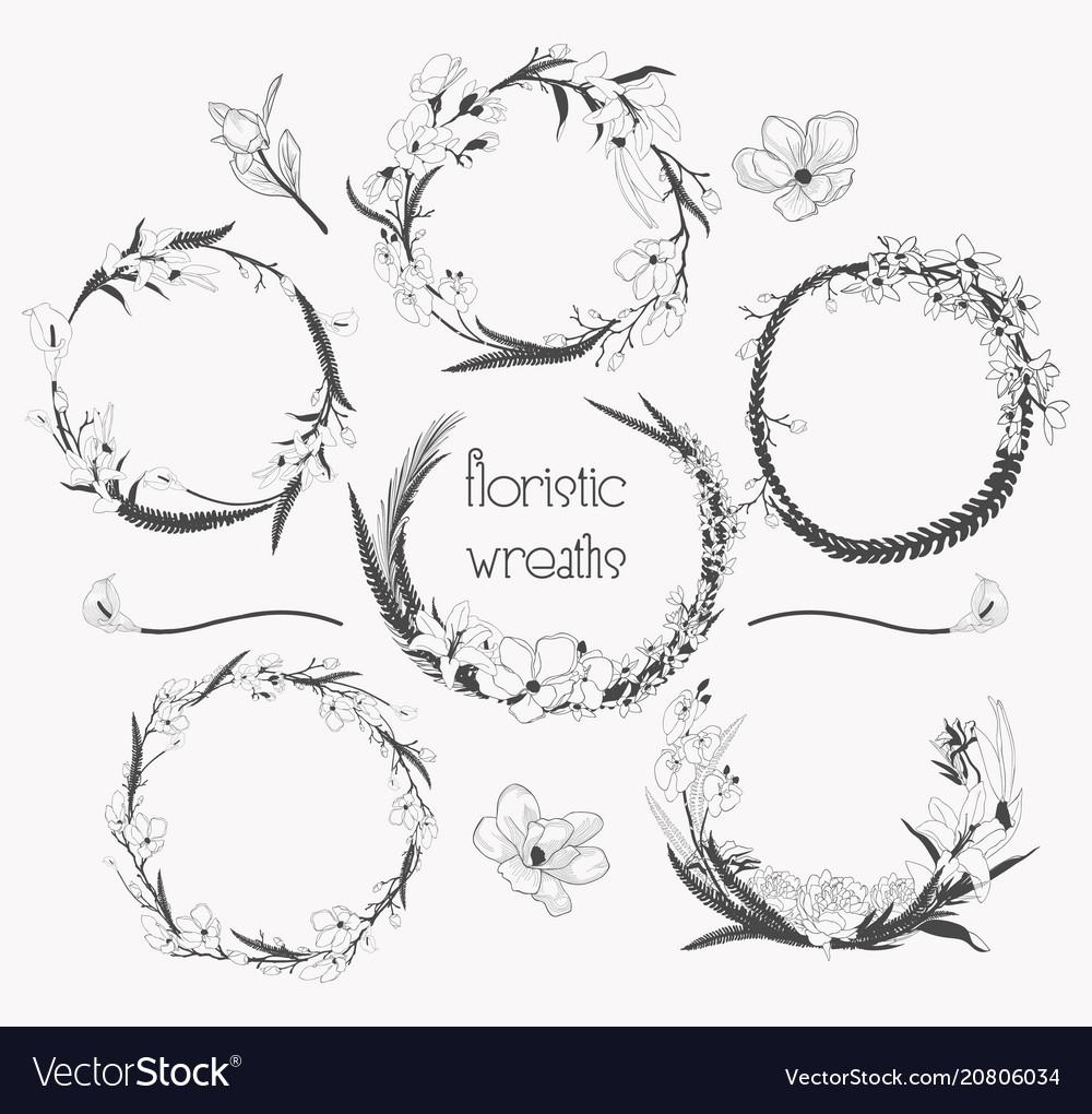 Delicate floristic wreaths flower frame design