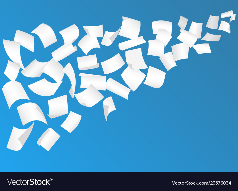 Flying paper sheets with curved corners in sky