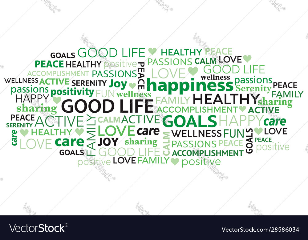Good life positivity word tag cloud