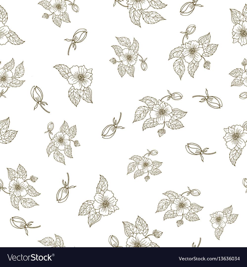 Hand drawing peony flowers seamless pattern
