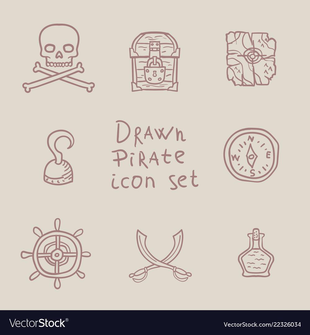 Hand drawn pirate icon set