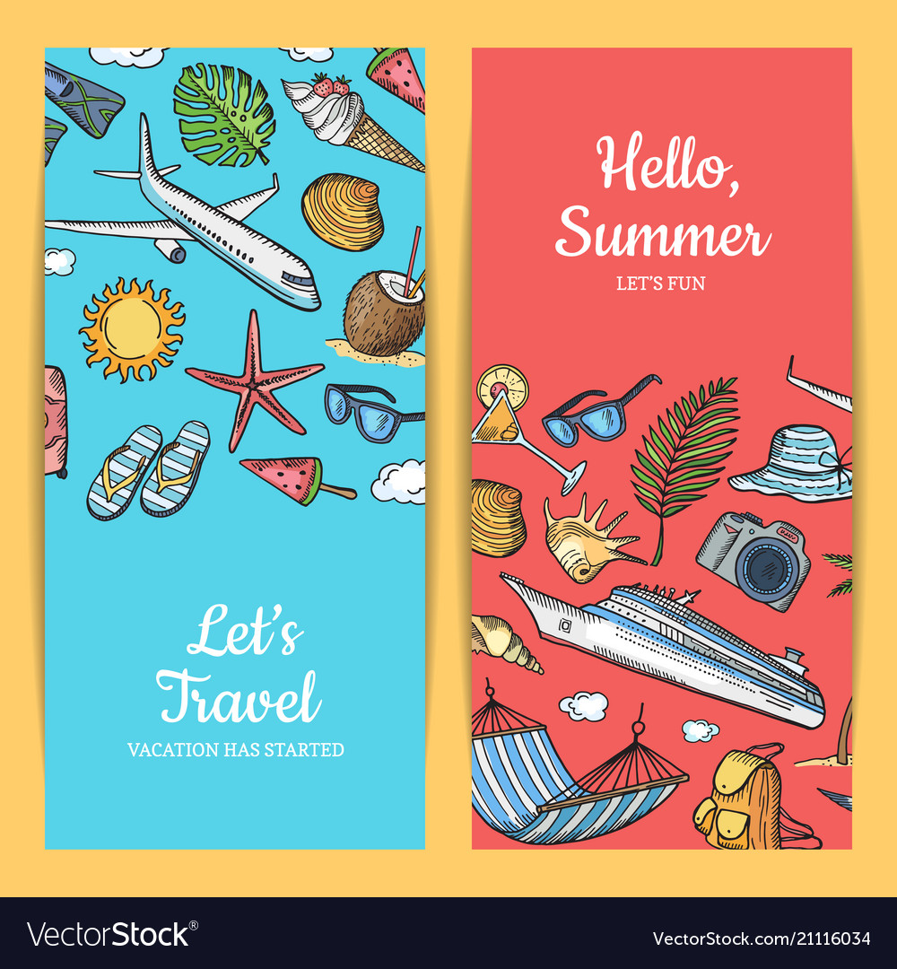 Hand drawn summer travel elements banners