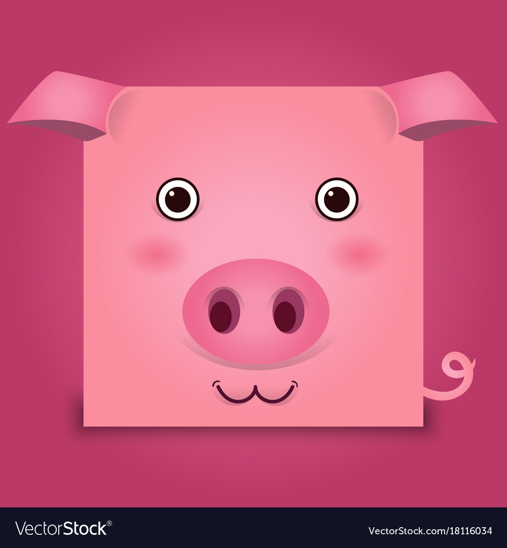 Image of a pig head on pink background