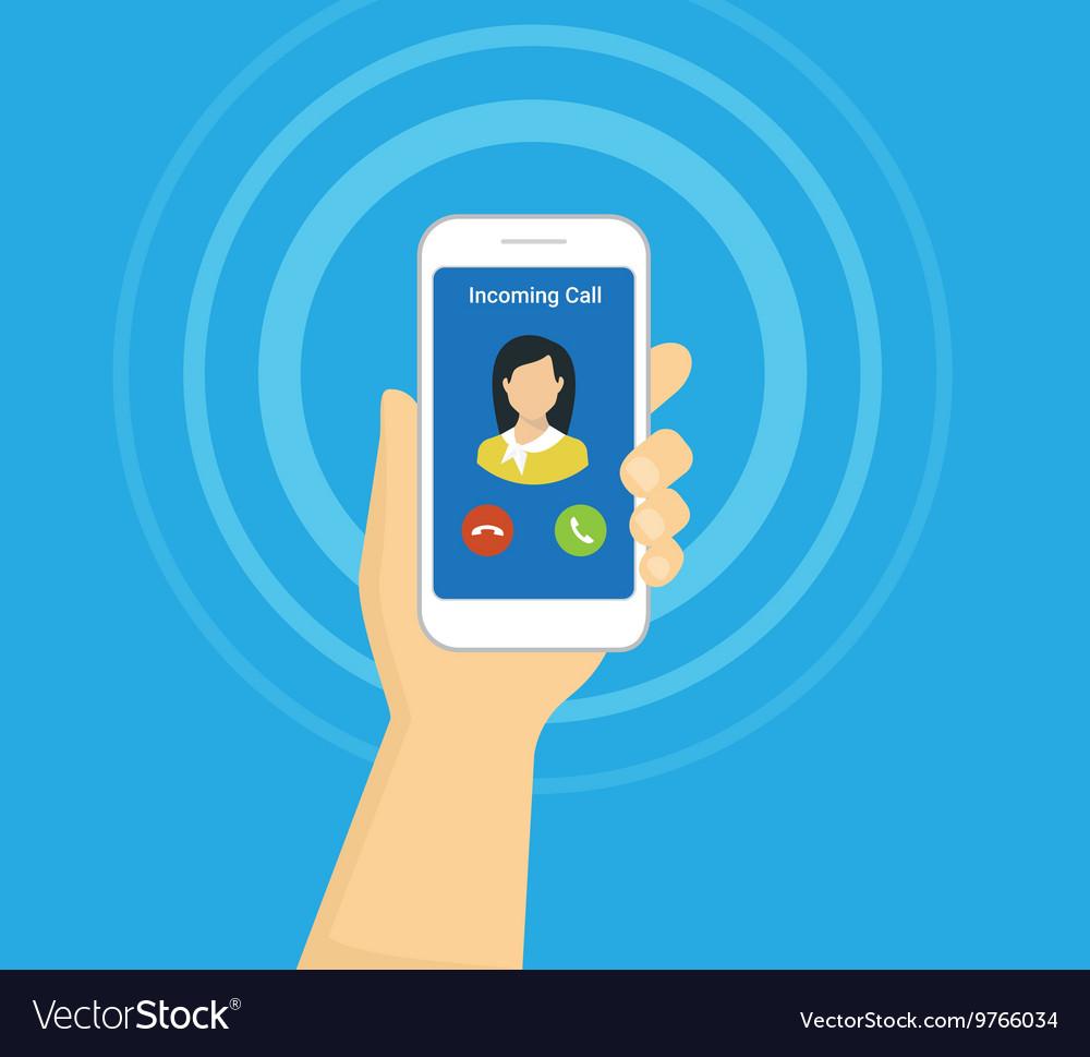 Incoming call on smartphone screen Flat