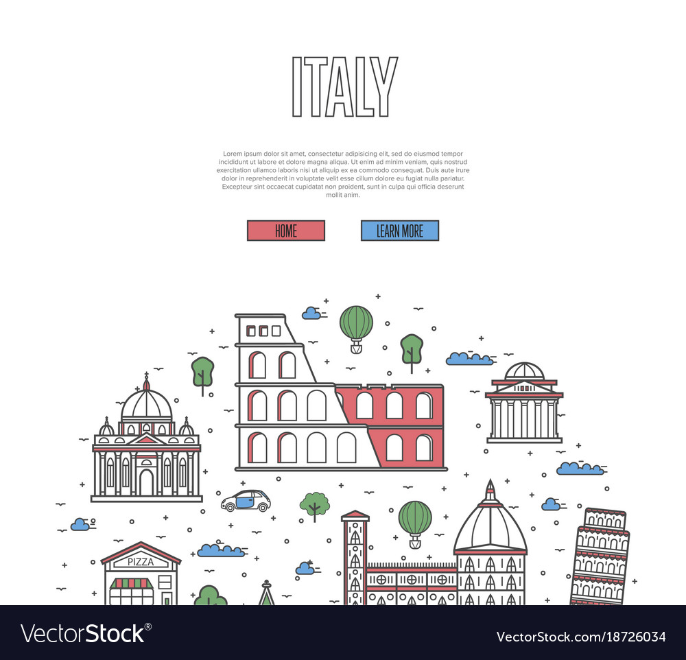 Italy travel tour poster in linear style vector image
