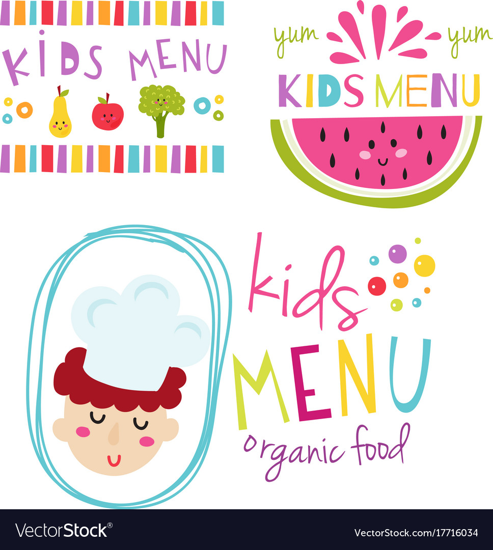 Kids organic menu hand drawn banner set