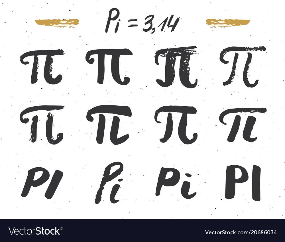 Pi symbols hand drawn icons set grunge
