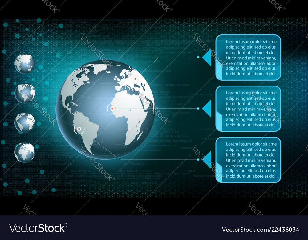 Planet earth on the digital technology background