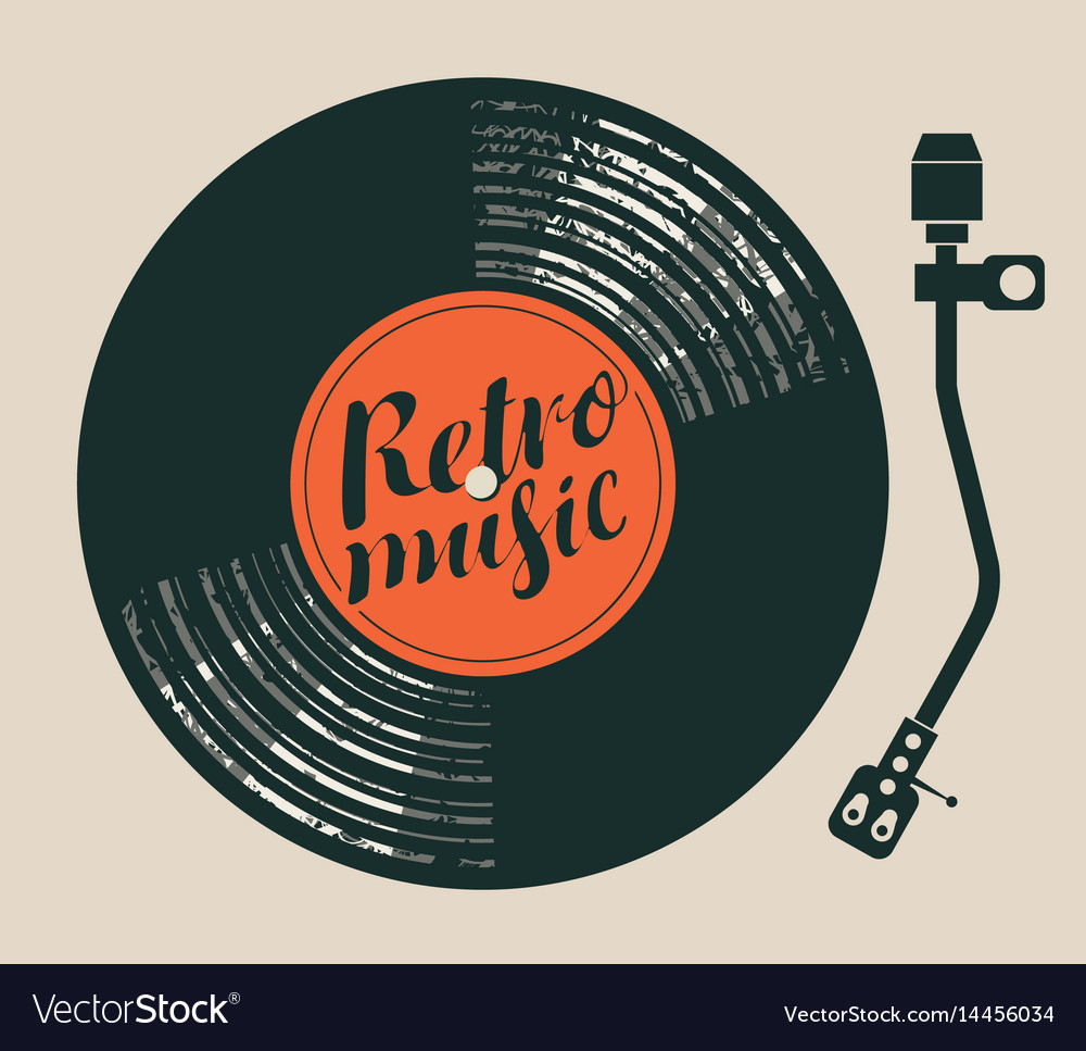 Poster retro music with vinyl record and player