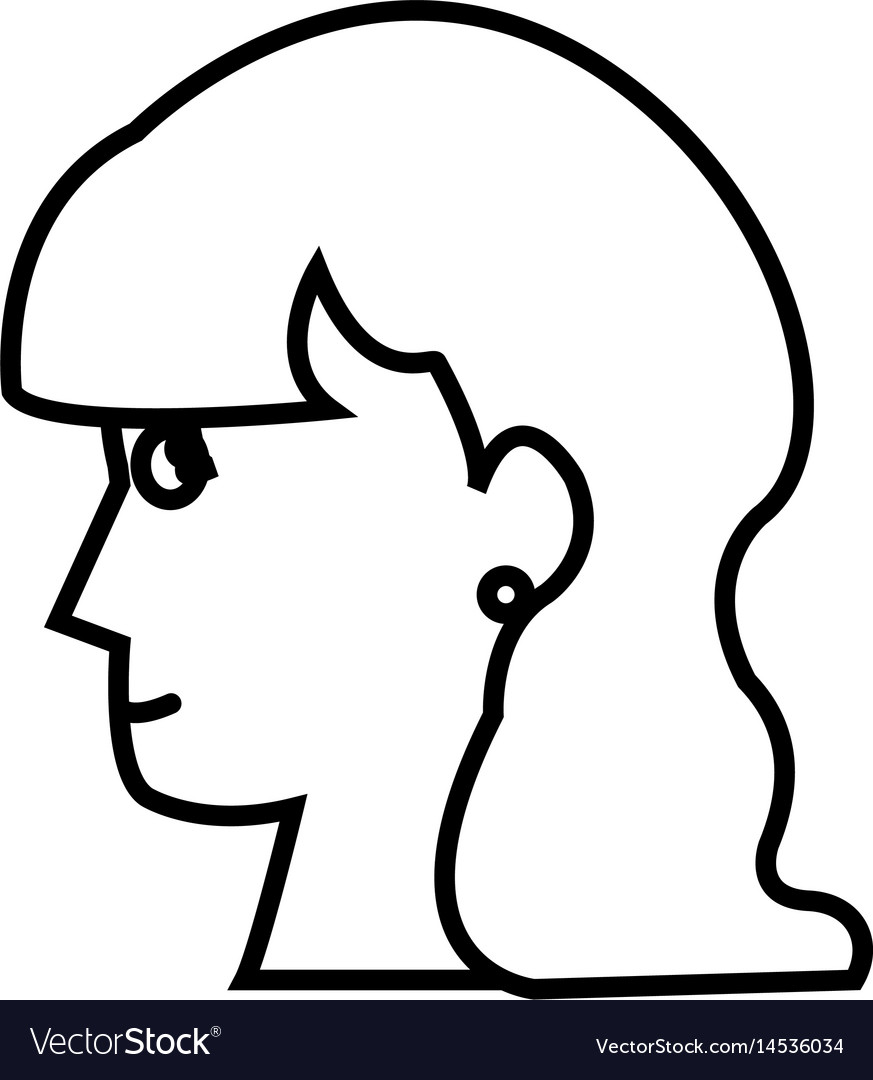 Profile head woman young female outline vector image