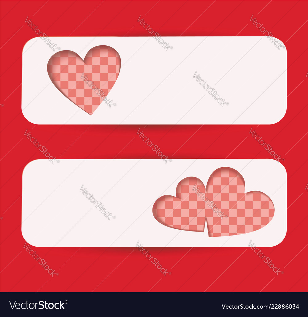 Set of banners with red hearts