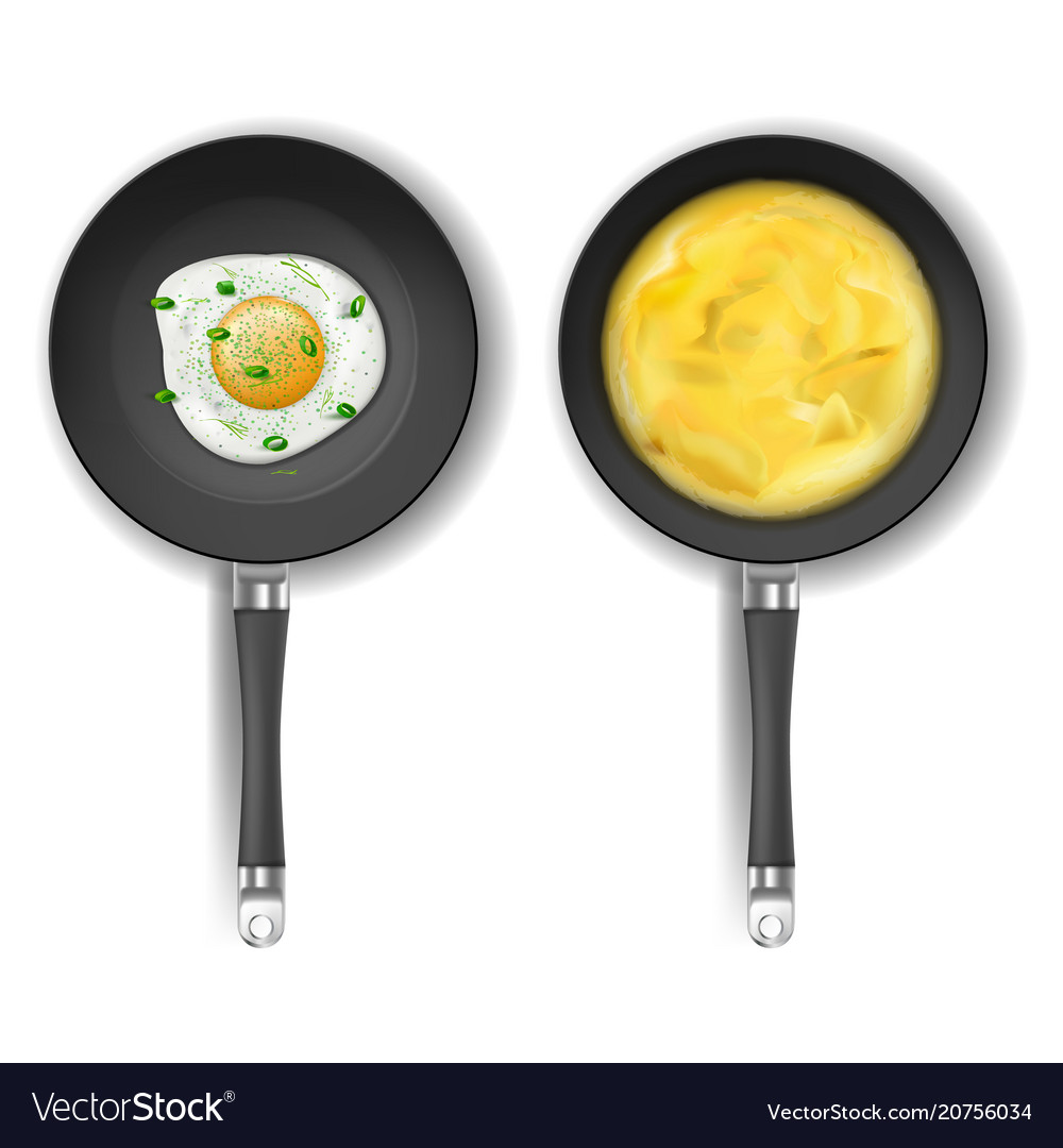 Set with two frying pans and fried eggs vector image