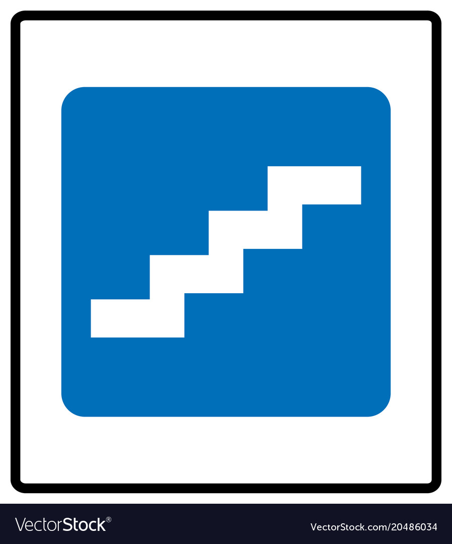 Stair up sign isolated on