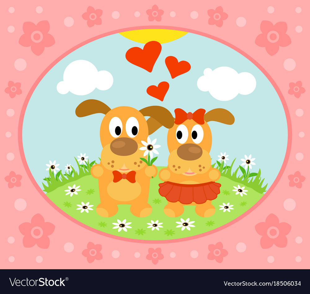 Valentines day background card with dog vector image