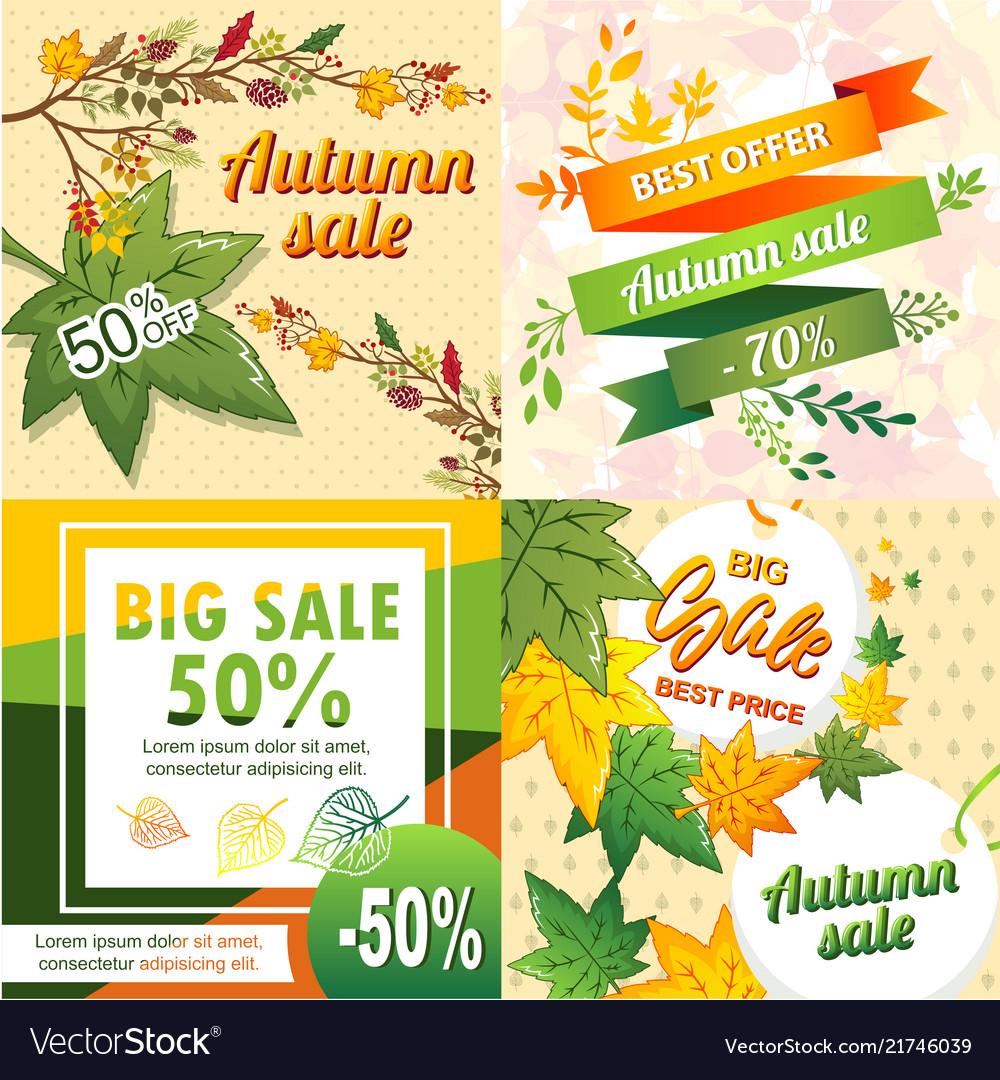 Autumn sale banner set cartoon style