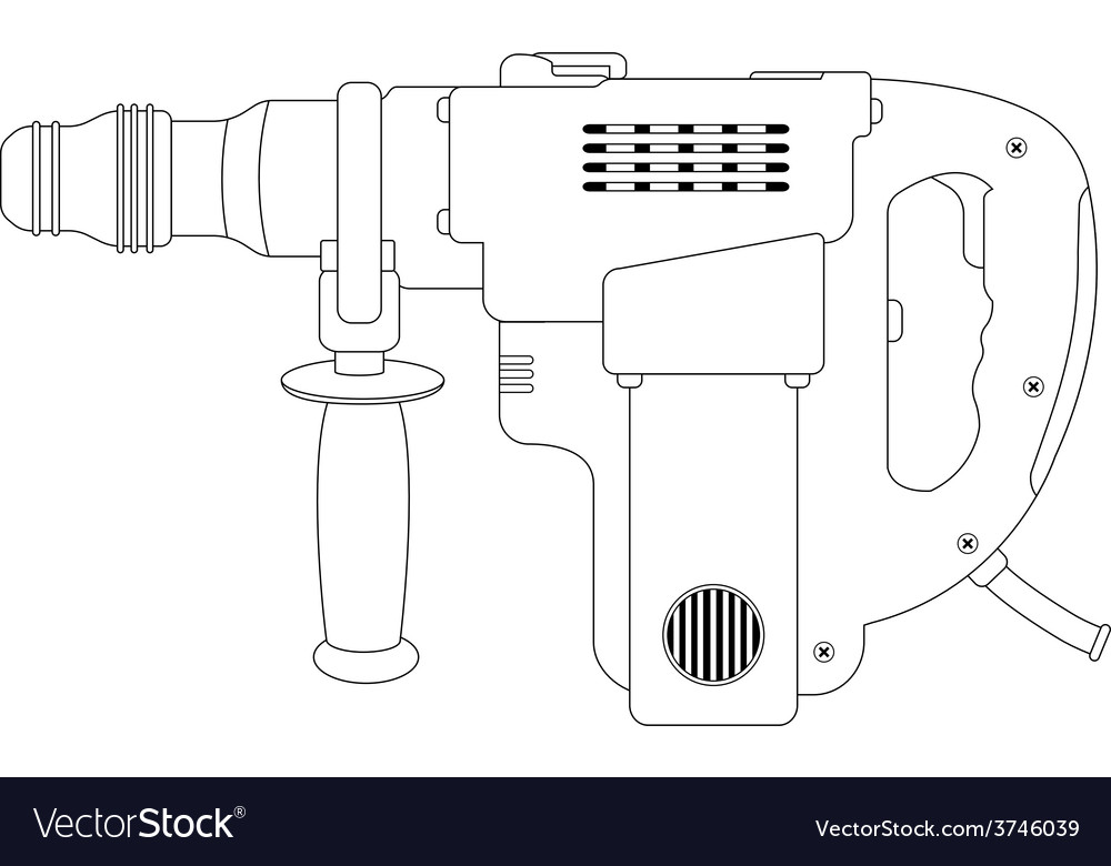 Big electric hammer drill Contour vector image