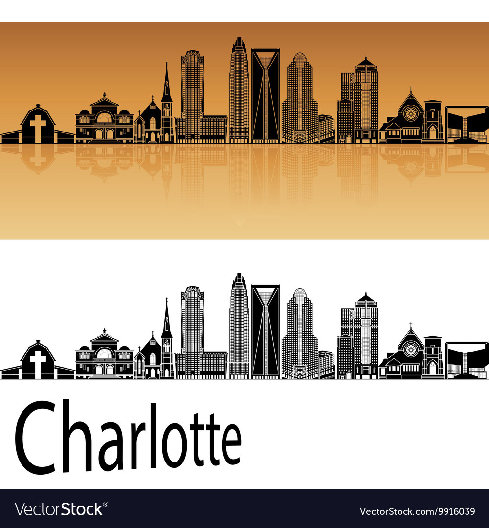 Charlotte skyline in orange vector image