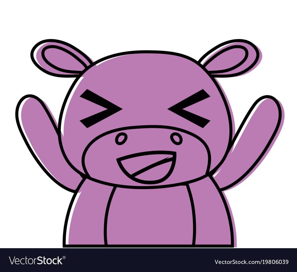 Color adorable and cheerful hippopotamus wild