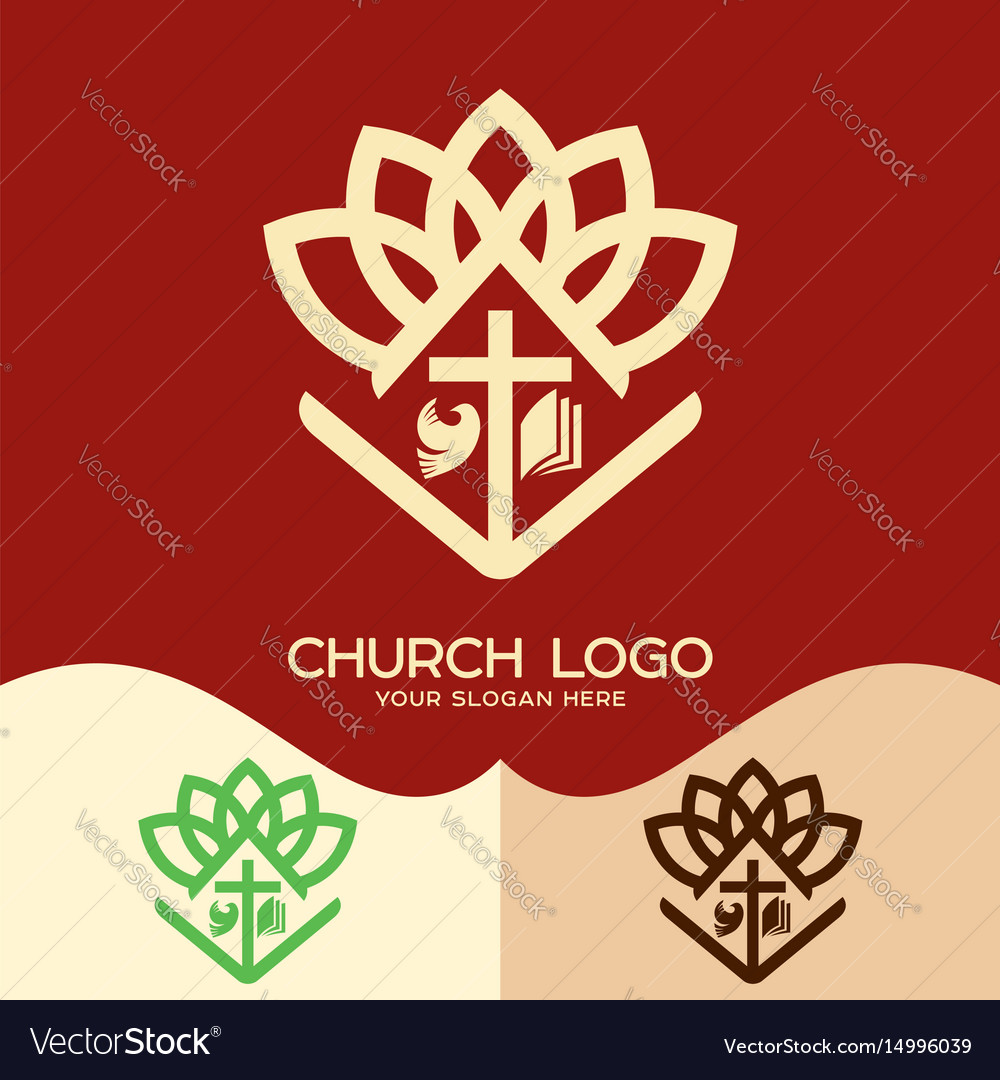 Cross of jesus open bible and pigeon vector image