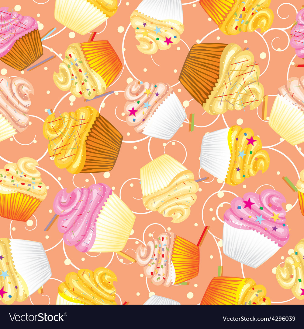 Cupcakes with cream Seamless background