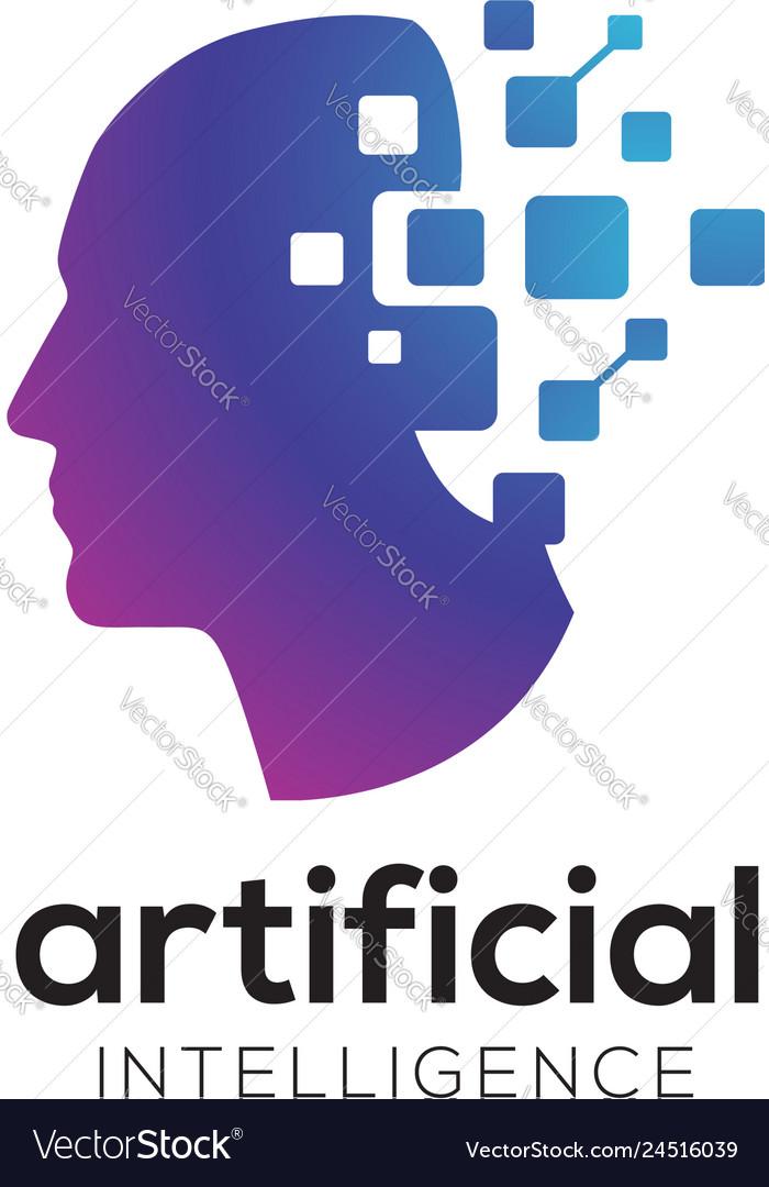 Digital abstract human head logo for artificial