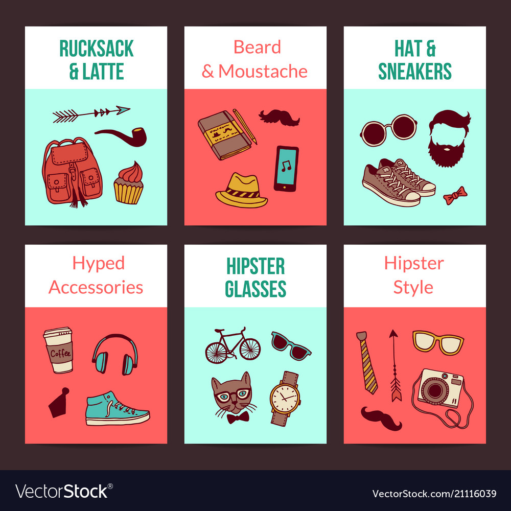 Hipster doodle icons card templates set