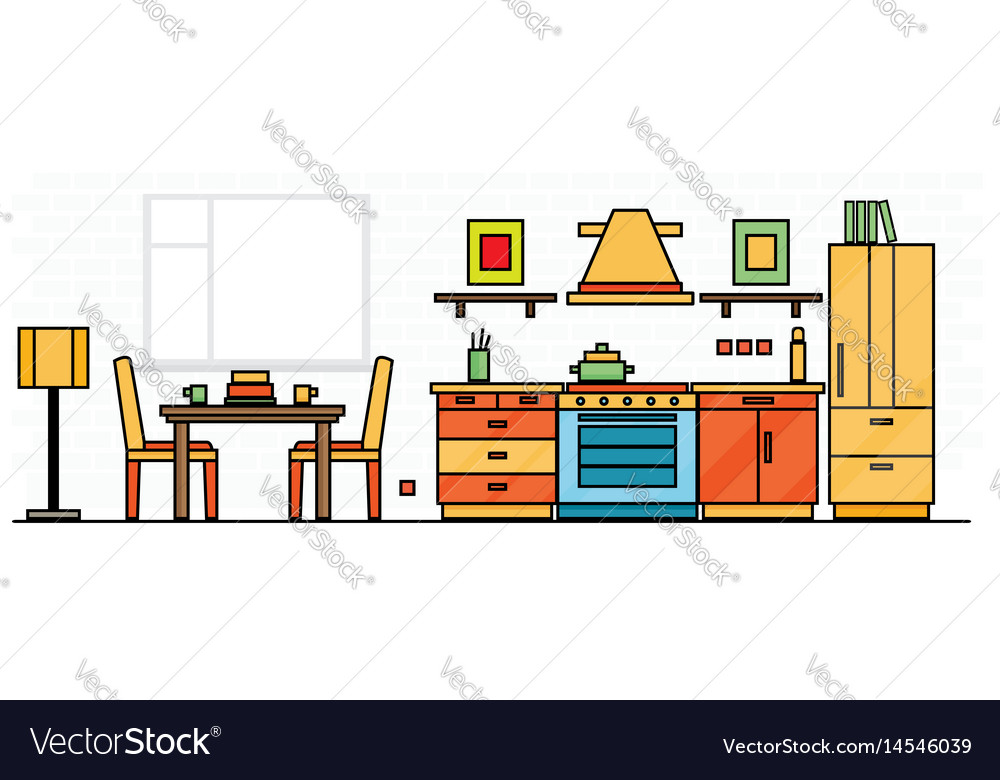 Kitchen interior with table stove and fridge