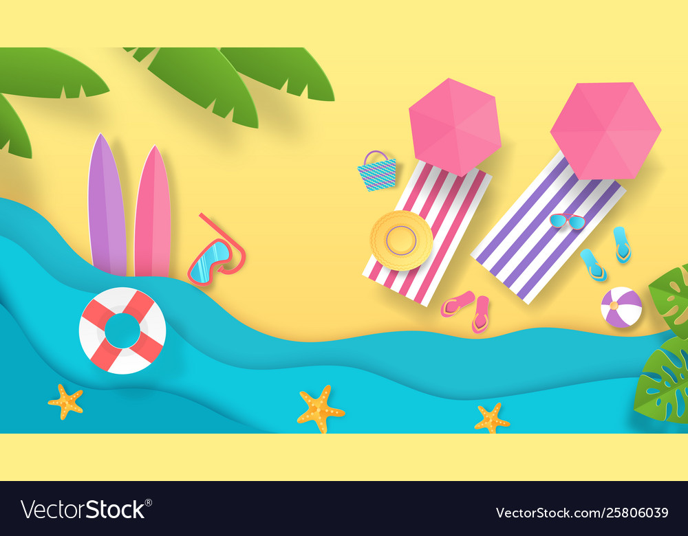 Paper cut summer beach vacation background