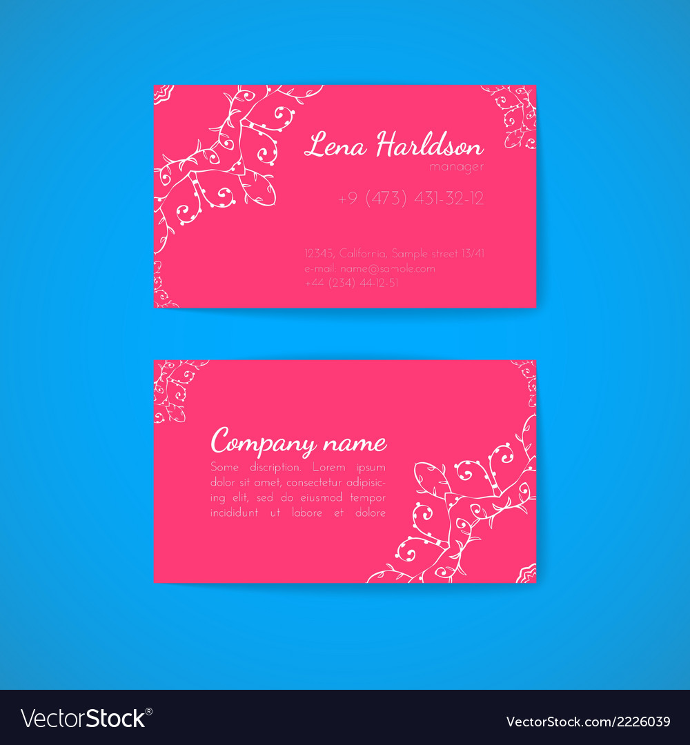 Pink Business Card Template with Decorative