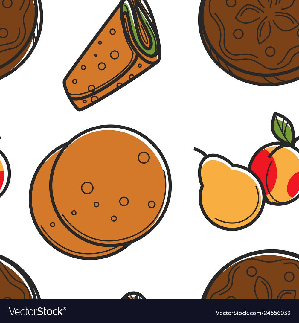 Pita bread or lavash pear and peach seamless