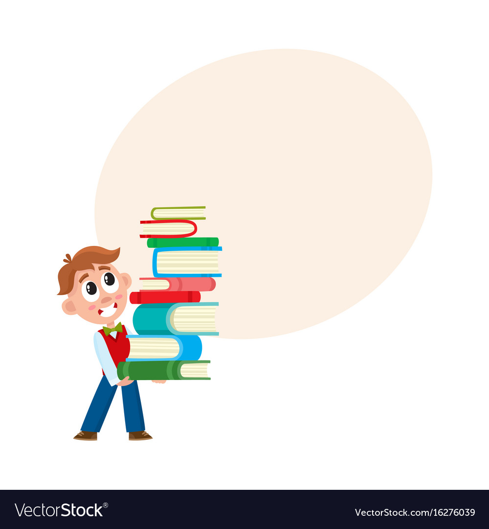 School boy holding huge stack pile of books