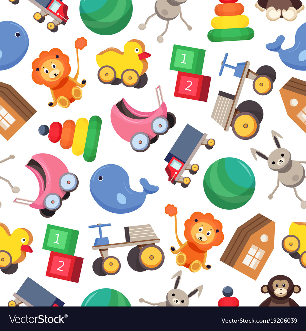 Seamless pattern with colorful children s toys