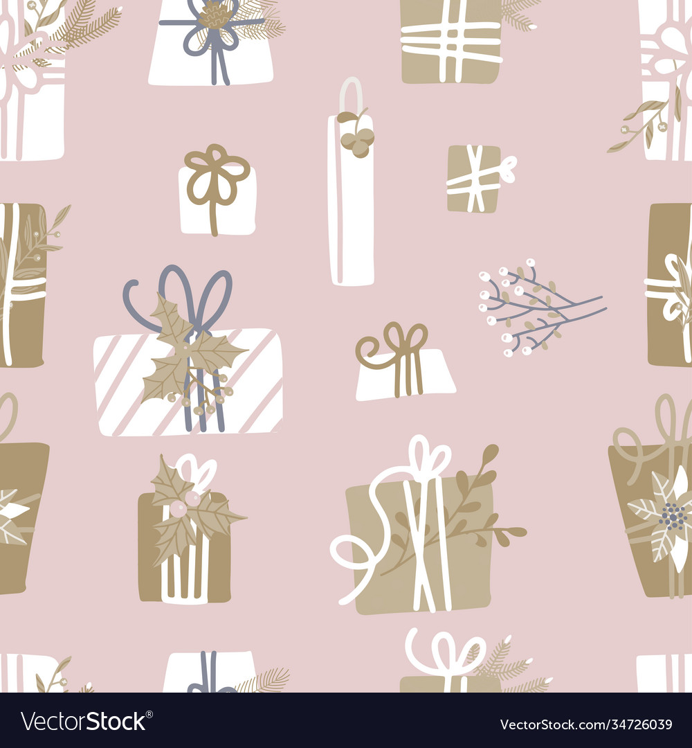 Seamless pattern with wrapped gifts wreath