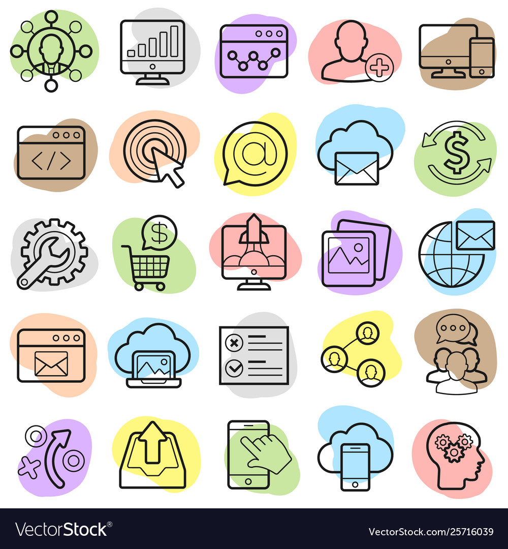 Seo optimization and marketing trendy icon set