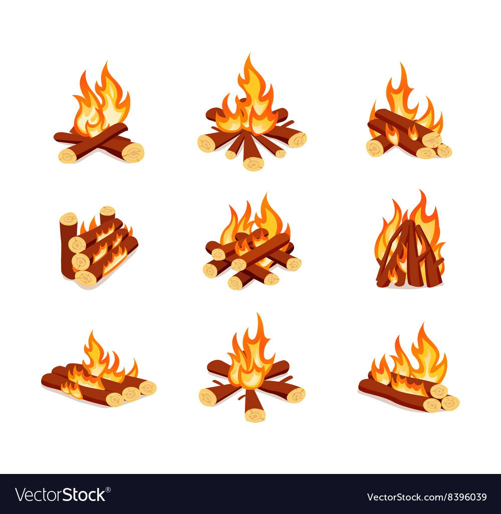 Set of campfires isolated on white background