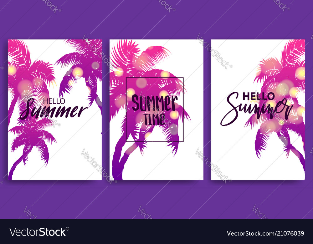 Summer time blurred banner greeting card