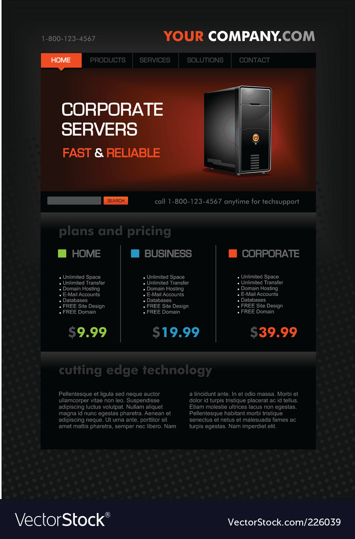 Web hosting web page template