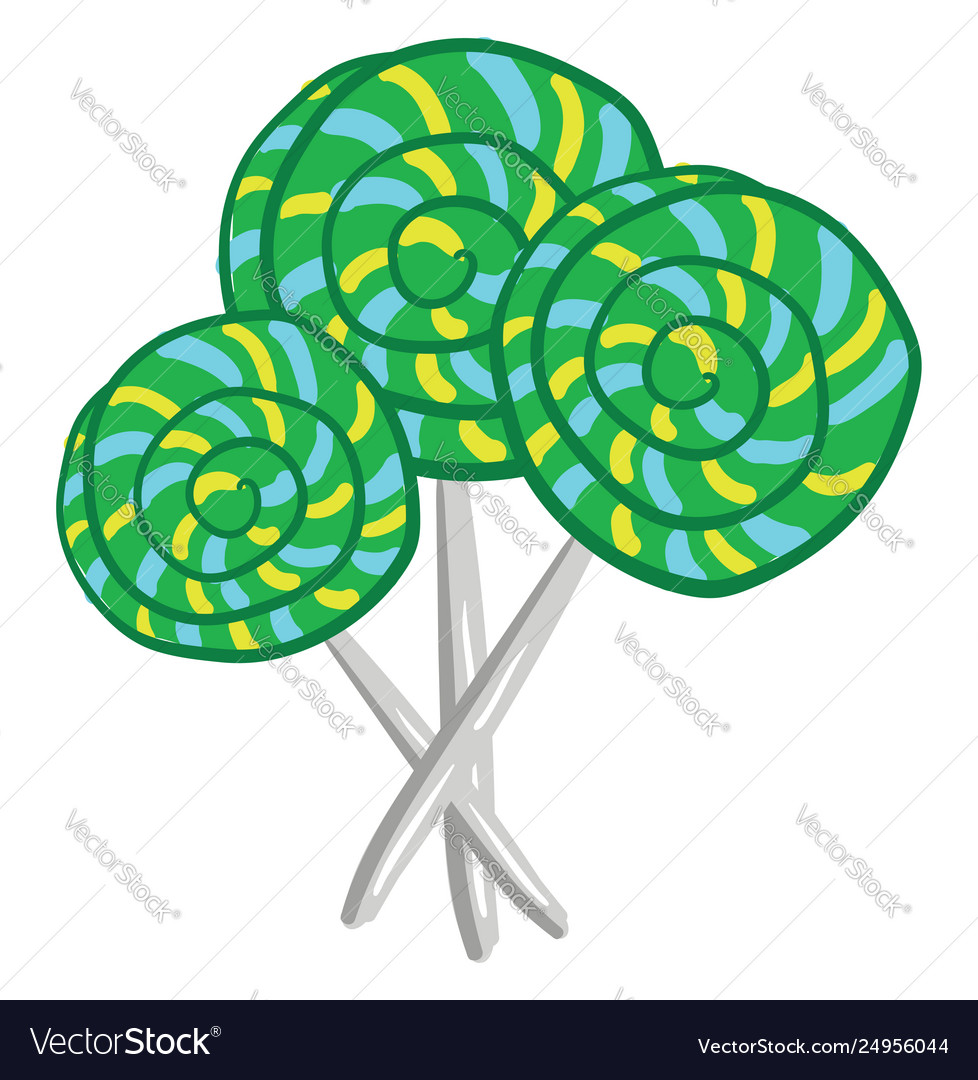 Big green lollipop candies or color