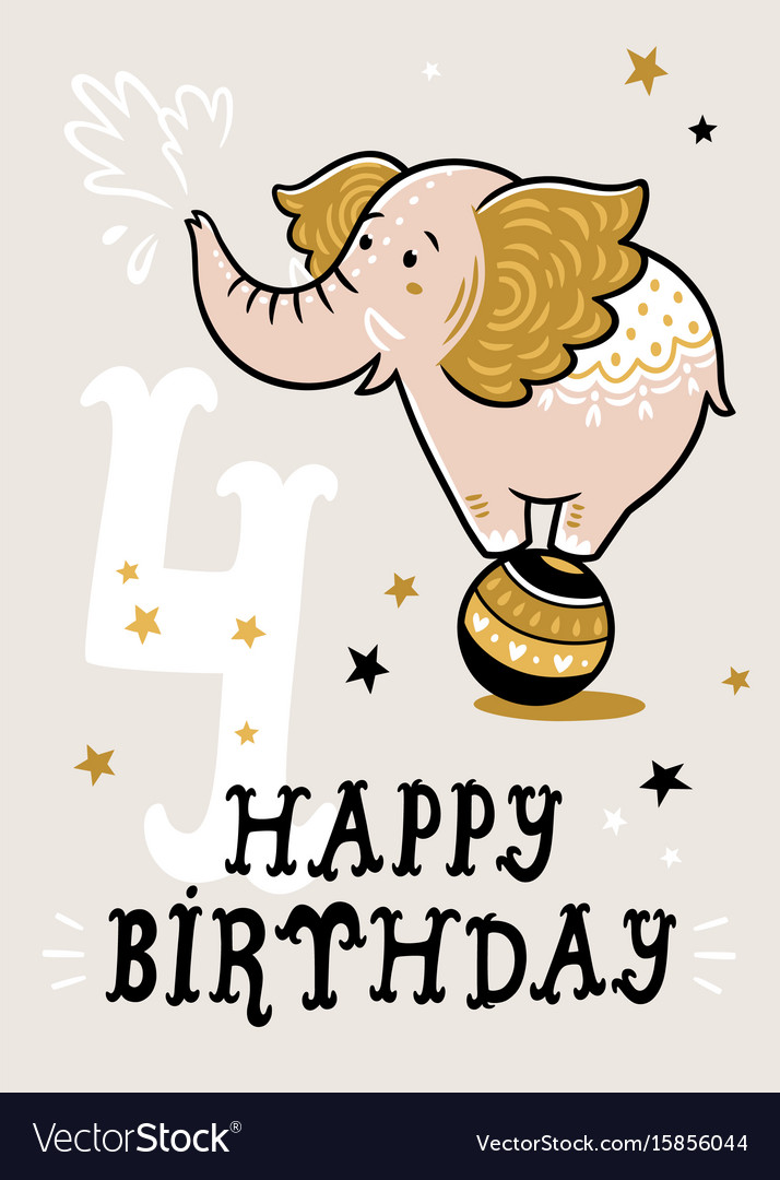 Birthday Card For 4 Year Old Baby Royalty Free Vector Image