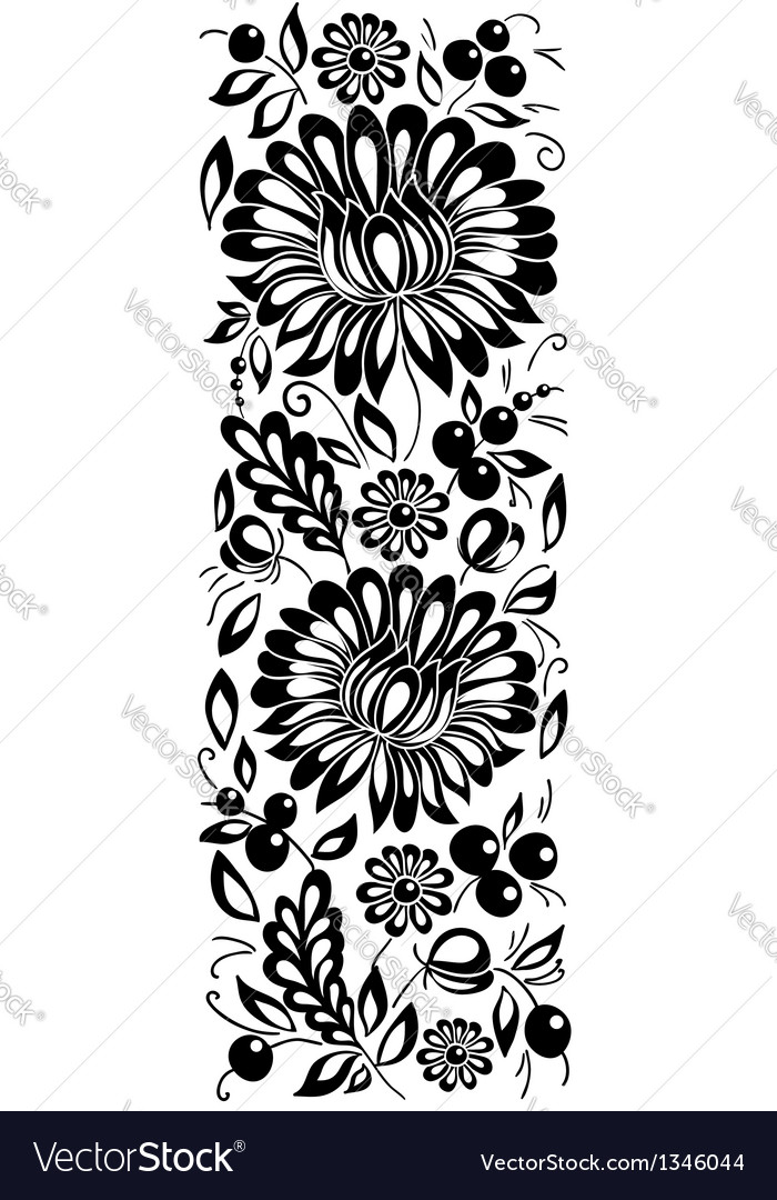 Black-and-white flowers and leaves Floral design e