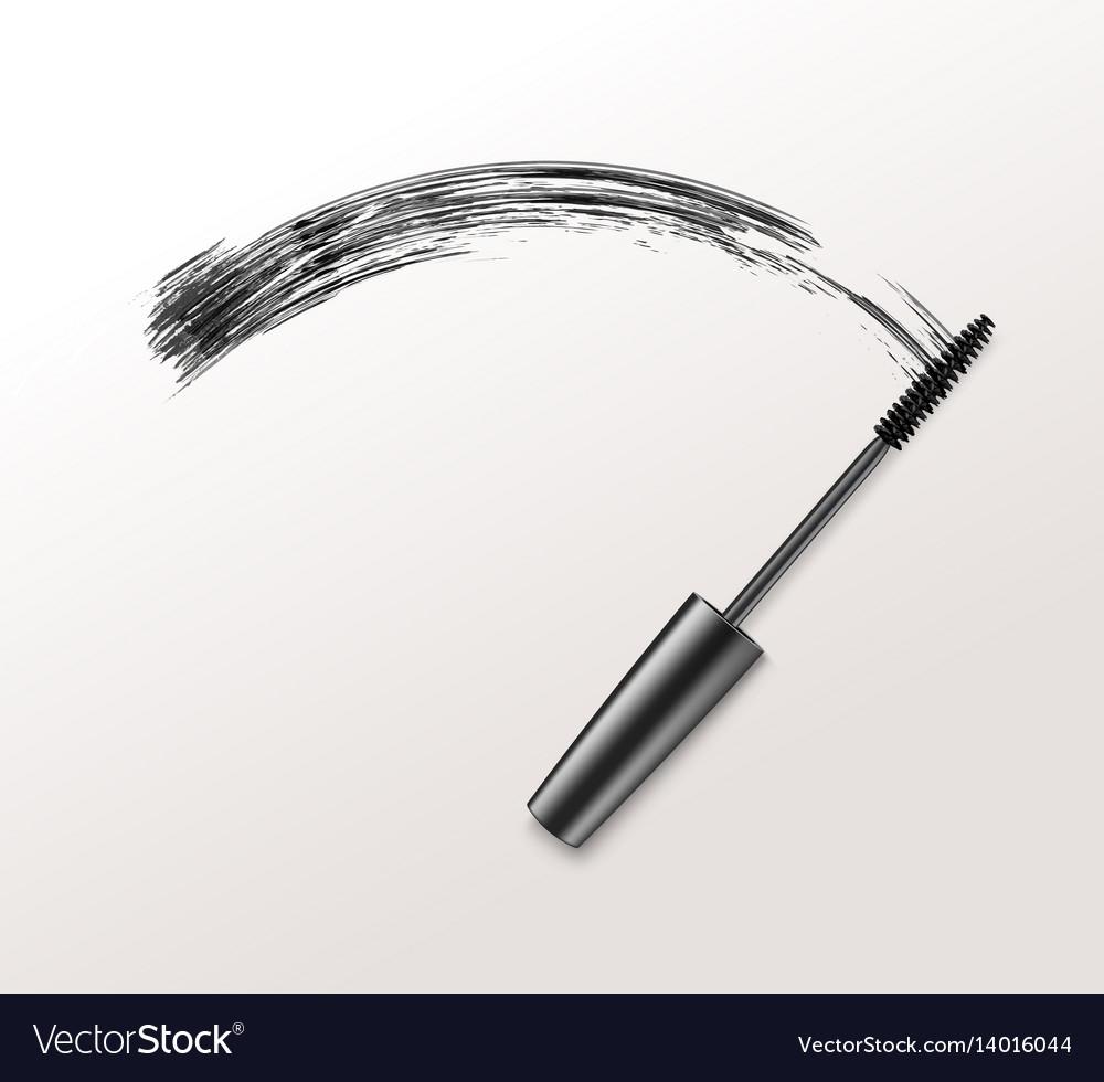 Black Realistic Mascara Brush Strokes Royalty Free Vector