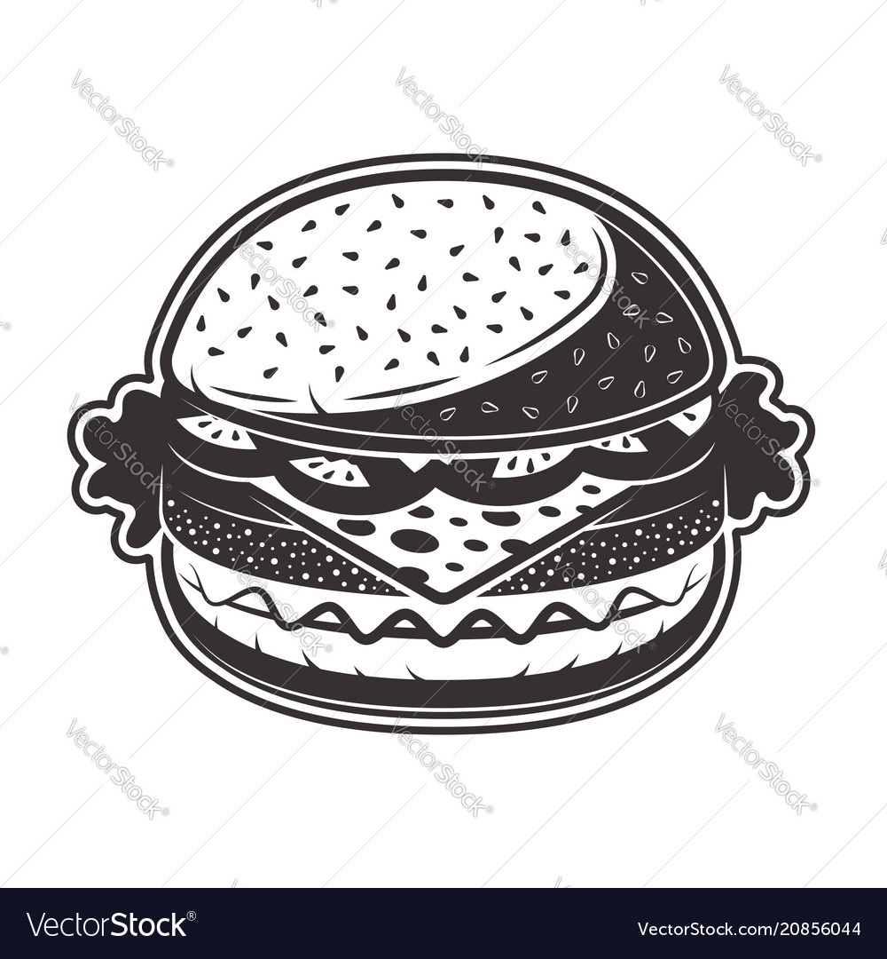 Burger in monochrome style