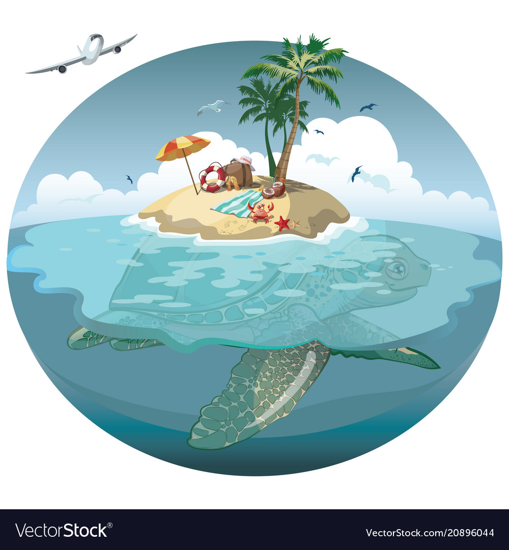 Cartoon island on a sea turtle for a